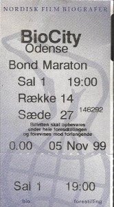 Billet til James Bond-maraton i BioCity Odense 5.-7. november 1999