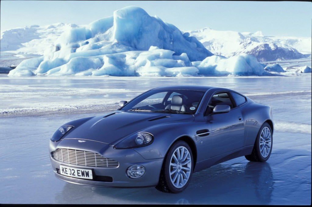 "Aston Martin Vanquish on location in Iceland for ""Die Another Day"" (2002). Film still courtesy of London Film Museum"