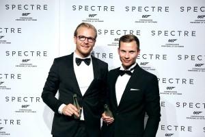 """Søren Aamand og Anders Houmann fra Nohrlund til """"SPECTRE""""-galla, 27.10.2015 (foto © Nohrlund)"""