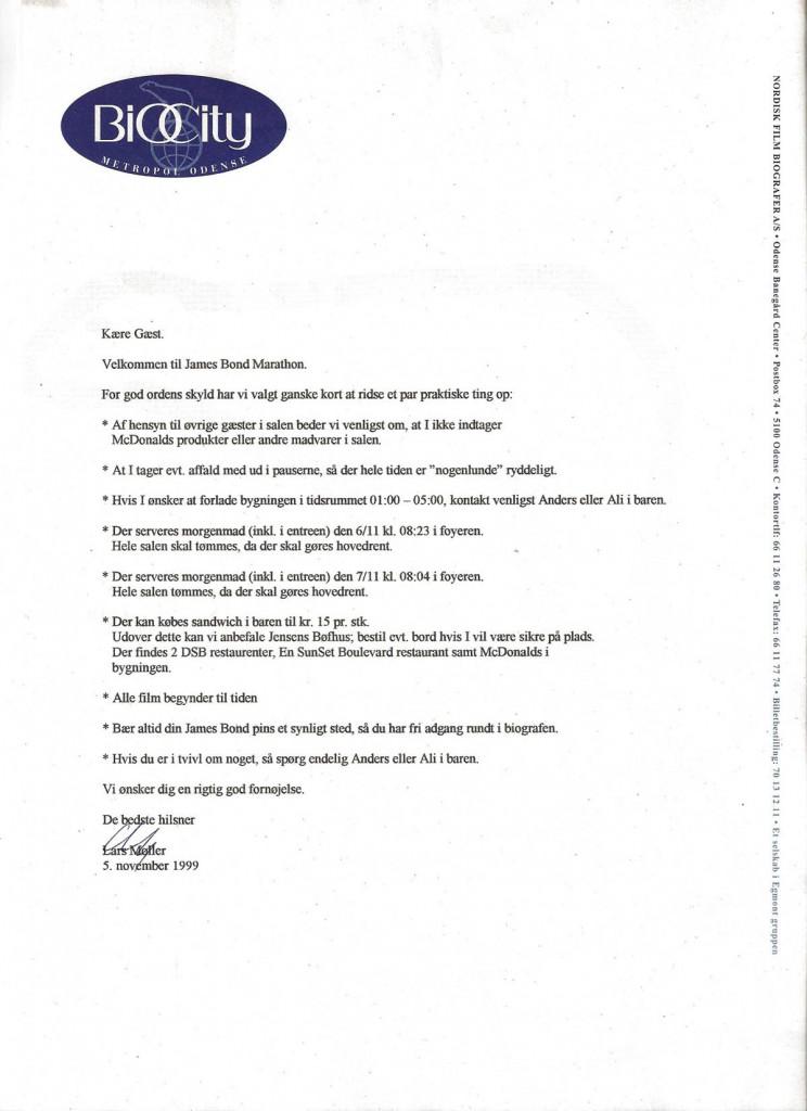 Velkomstbrev uddelt til deltagerne i James Bond-maraton 5.-7. november 1999
