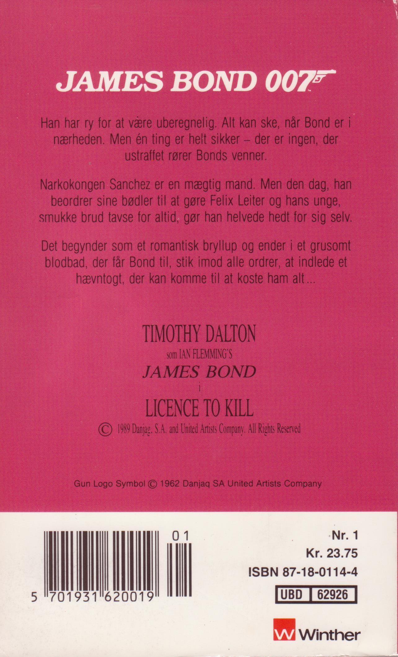 007 - med ret til at dræbe (1989) - bagside