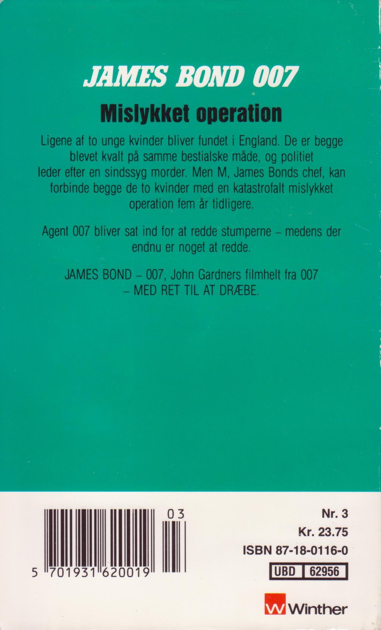John Gardner Mislykket operation dk 1989 bagside