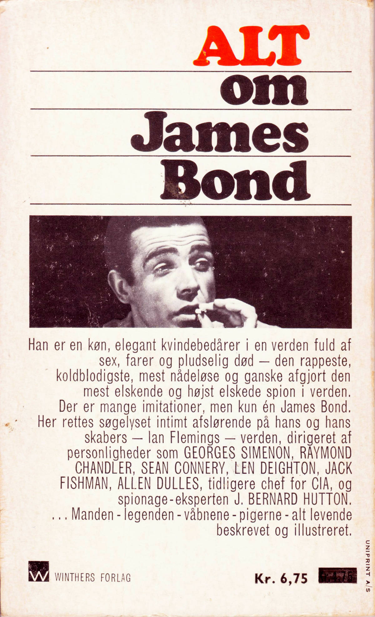 """Alt om James Bond"" (1967): Danish back cover"