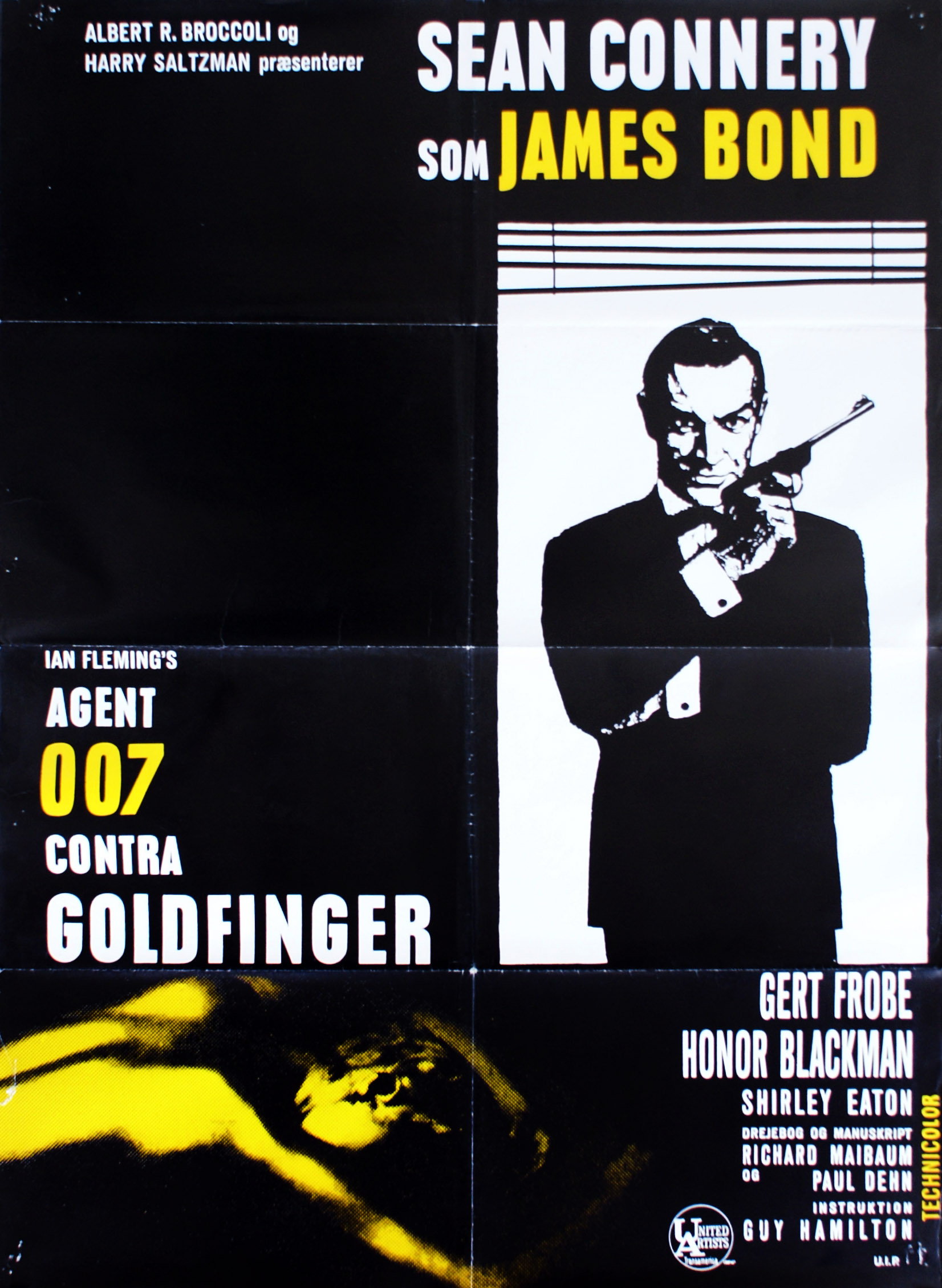 "Danish re-release poster for ""Agent 007 contra Goldfinger"" (1964) with yellow spot colour"