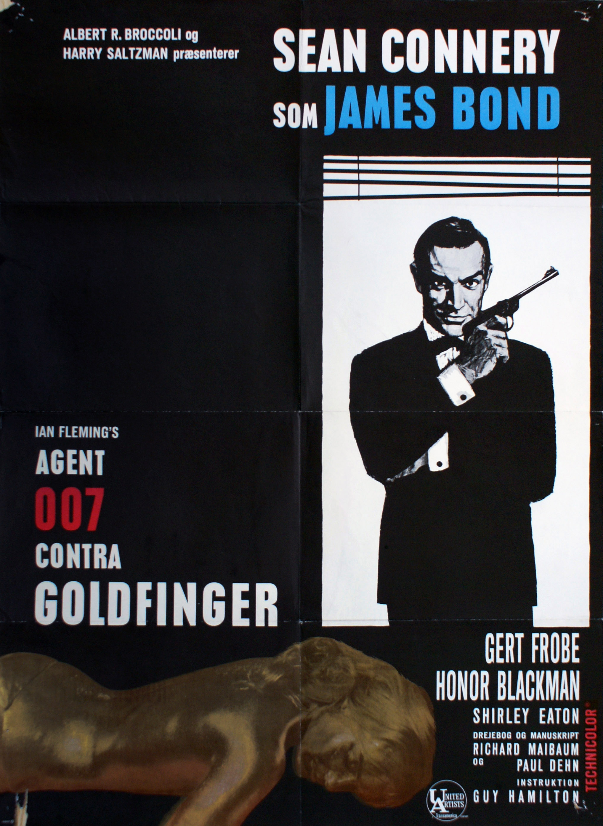 "Danish theatrical poster for ""Agent 007 contra Goldfinger"" (1964)"