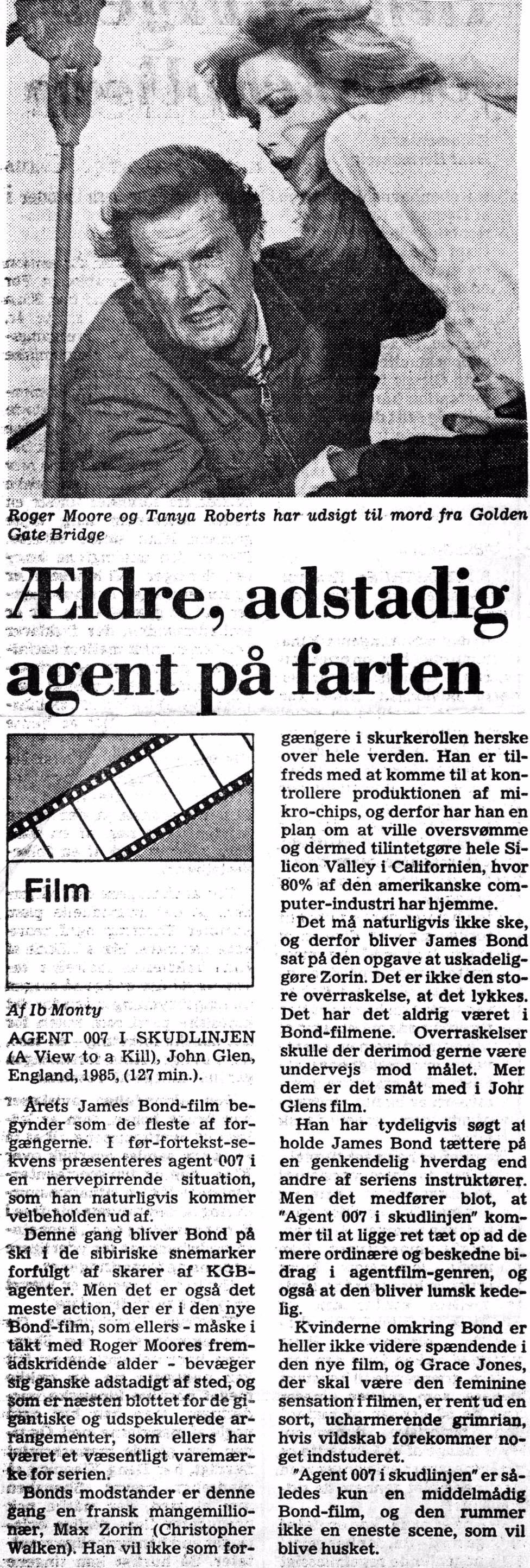 """""""Agent 007 i skudlinien"""" JP 09.08.1985"""