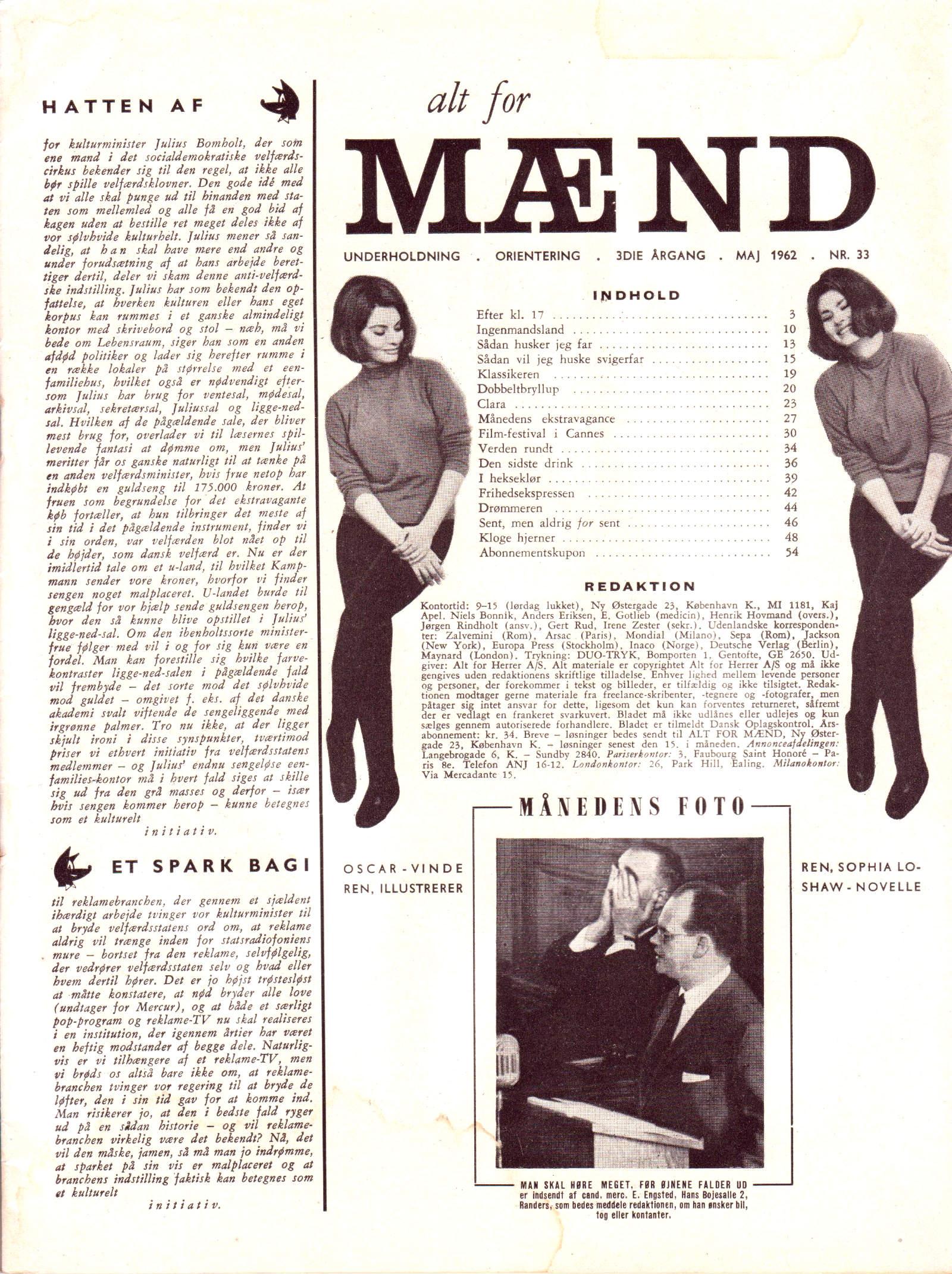 Alt for mænd 33-1962 side 3 indhold