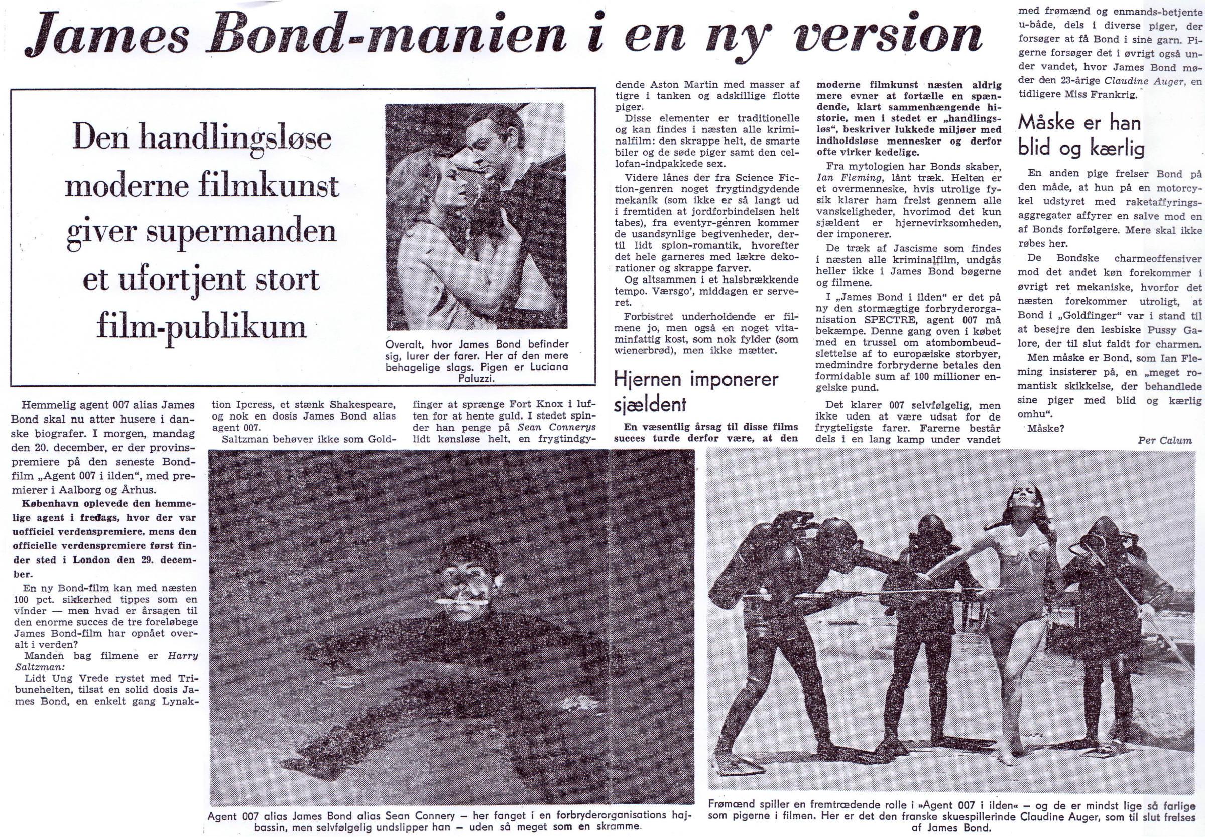 Agent 007 i ilden: Jyllands-Postens foromtale 19.12.1965