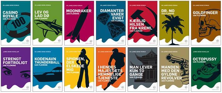 Alle forsider i Rosenkilde og Bahnhofs James Bond-bogserie