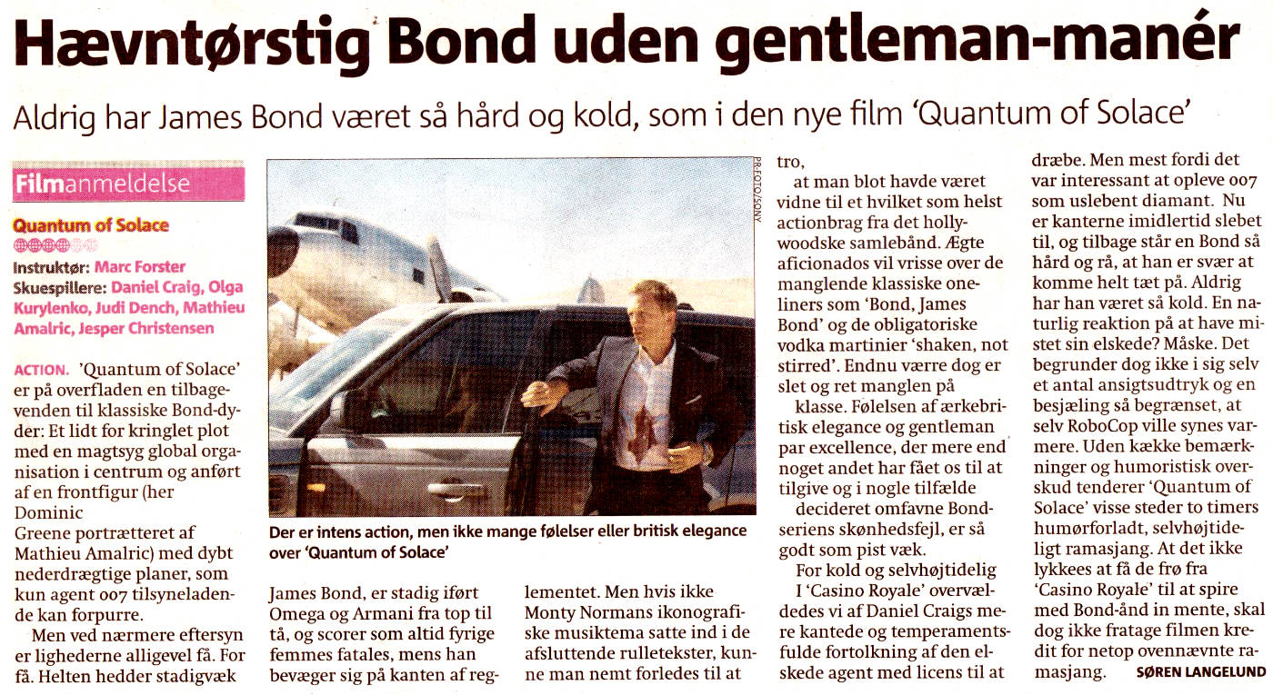 Quantum of Solace MetroXpress anmeldelse 07.11.08