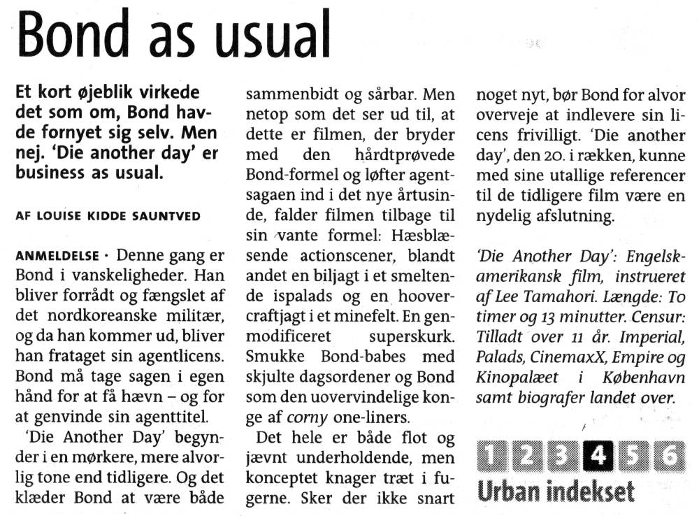 Die Another Day Urban anmeldelse 240103
