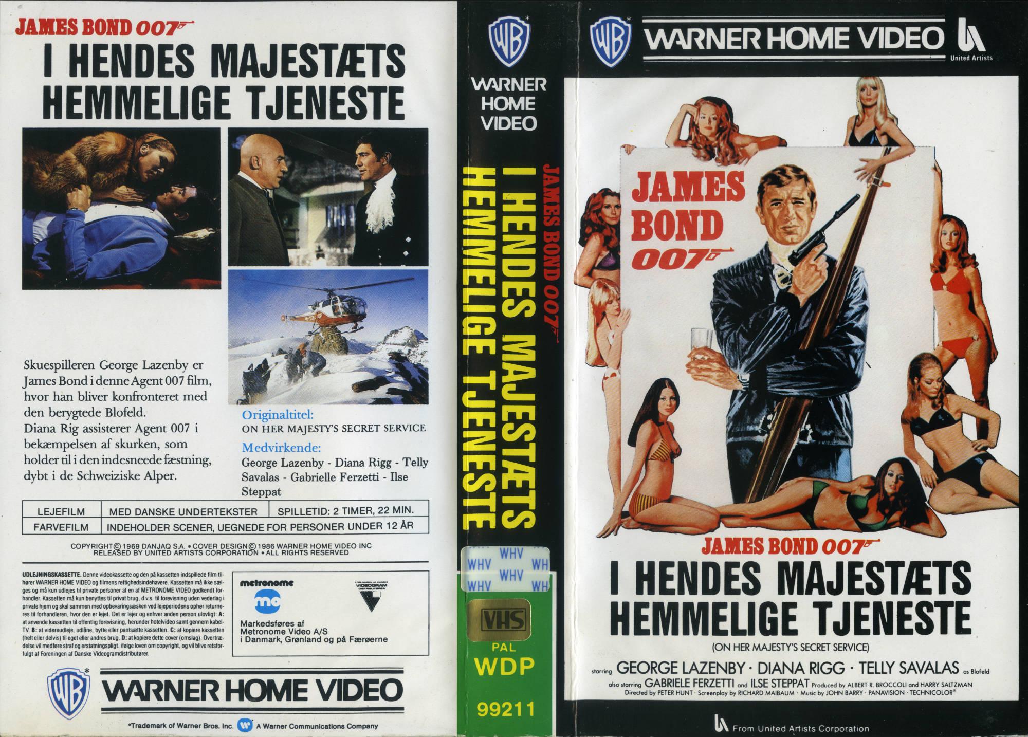James Bond 007 i Hendes Majestæts hemmelige tjeneste: Dansk videoomslag (1986)