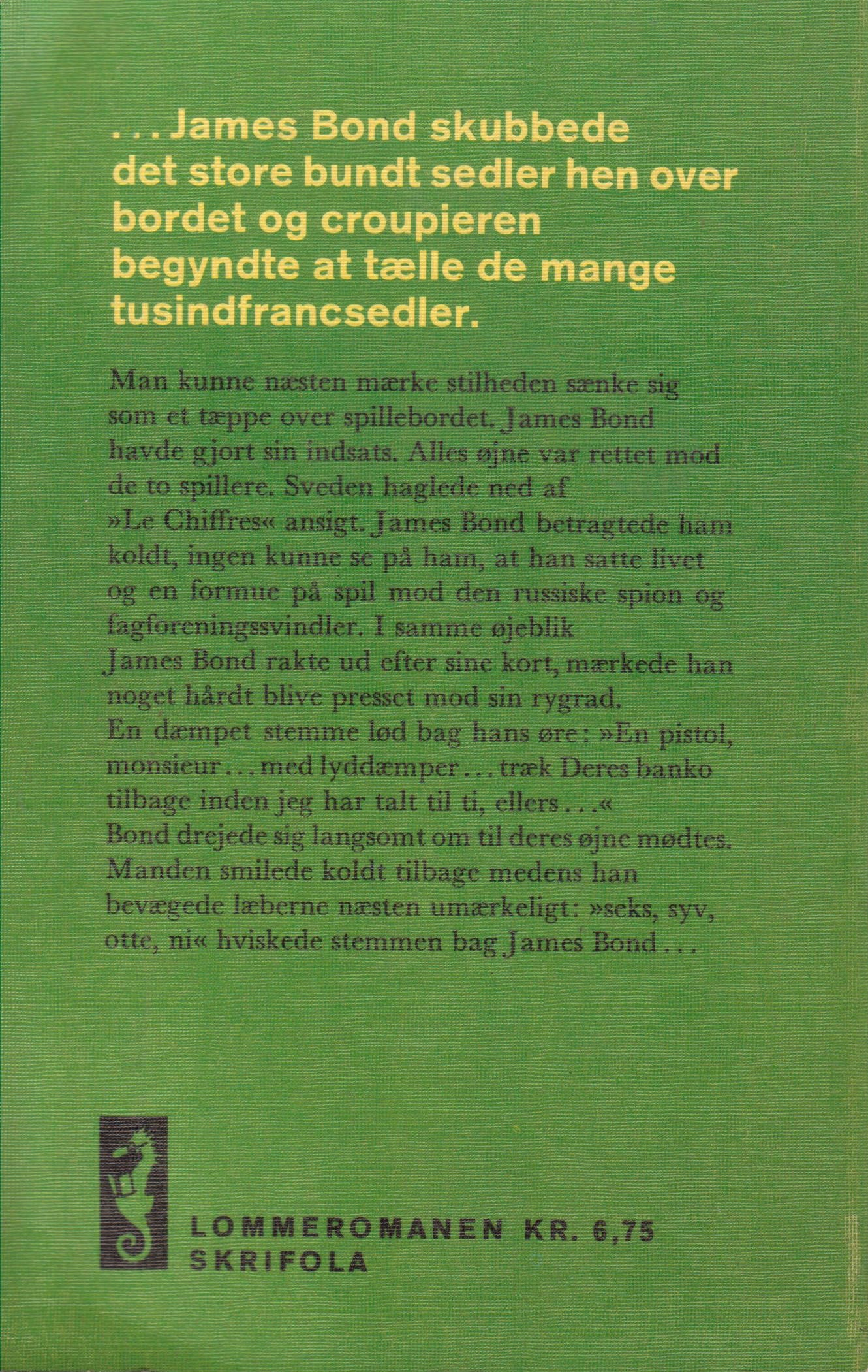 Banko for døden James Bond (Skrifola 1967) bagside